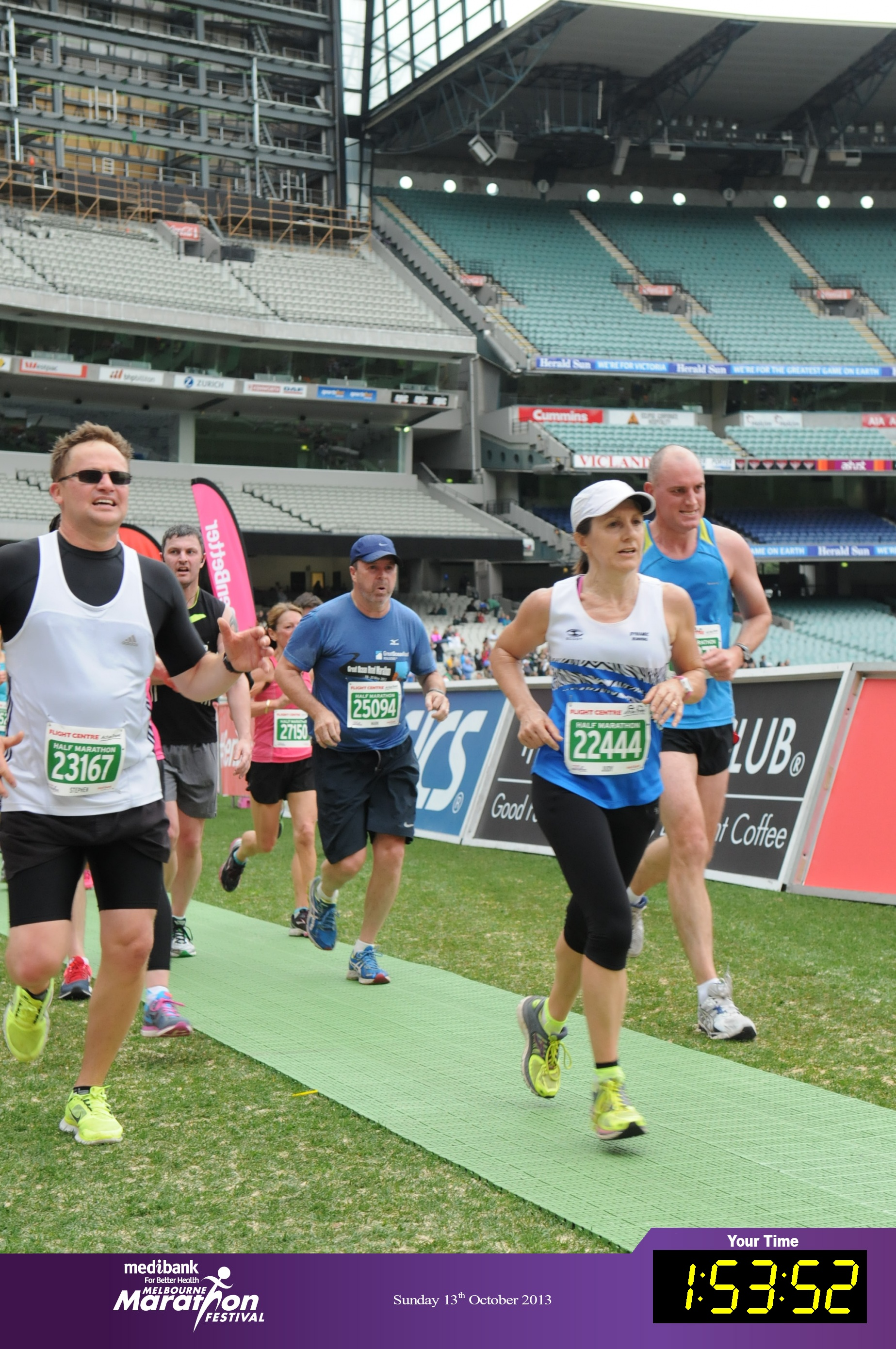 Judy finishing the Melbourne Half Marathon in October 2013.