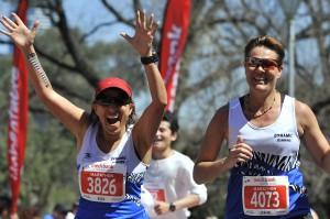 Nadie Mead and Lorraine Lawson Melbourne Marathon finish 2014